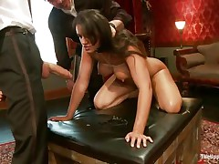 Brunette wench Penny is a slave at a sex party. This babe is made to engulf hard cocks, then gets her wazoo spanked. A large vibrator will solve the situation very well, making her cunt so wet and hot. The man sticks his dick in her pussy from behind, but she desires to engulf some more and begins engulfing the dildo!