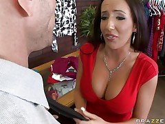Johnny Sins is getting on one of his workers for trying to  steal something. Look at her long hair, her large fat tits and the way this playgirl groans while he licks her hard nipples. Do u think this playgirl is going to take some cock in that obscene mouth?