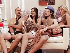 Those blond and darksome haired chicks are with those 2 guys and looks like they are playing some kind of enjoyment games. But in a short time they begin to have some sexual fun! Right after that, they all get into the bathroom and one as well as the other of those 2 lewd chicks begin sucking one of the guy's cock!