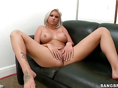 Slut with short blonde hair, Deadra Dee, is showing her big titties and widening her legs as this babe spreads her cookie for you too. See her juicy cookie as this babe is masturbating for pleasure. On a couch, awaiting for a 10-Pounder with her nude body this bitch is willing to get screwed hard. And as a rod came, this babe started blowjob instantly!