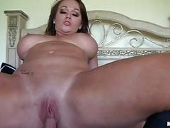 Sensual brunette hair milf with large balloons rides hard weiner in bedroom
