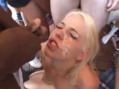 Blond takes dozens of facial cumshots