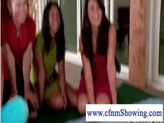 Cfnm girls in yoga lesson and jerking off exposed studs