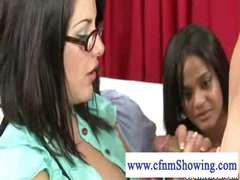 Cfnm hotty with glasses and large bumpers acquires cum on her bumpers