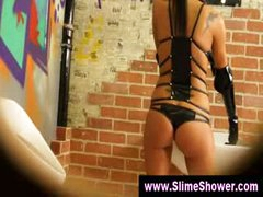Gloryhole gals soaked and ribald shower