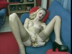 Slim blonde double penetration with bananas