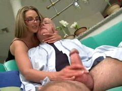 Super hot gal in glasses fucked by chubby old man