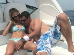 Golden-haired michelle lays on the boat and acquires her slit licked