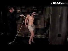 Girl With Moutgag On High Heels Getting Bound Up And Hanged Nipples Tortured With Vids In The Dungeon