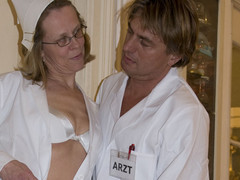 A horny aged pair fuck on the ottoman