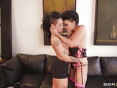 Watch horny lalin girl Eva Angelina and sexy Caucasian Christy Mack playing their little lesbo game, naked! Watch their busty bodies with nice bog boobs, awesome asses and shaved pussies. These brunettes were kissing every other, laughing and getting hornier as their nipples were getting harder! But pretty soon that guy came and started this sexy threesome with them!