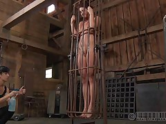 A metal cage and a harsh mistress is all that this cunt needs to be disciplined. Stick around and have a fun how the mistress plays with this naked girl and how obedient she will become. Every nasty doxy merits a treatment like this!