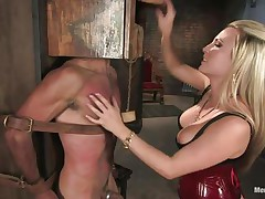 Domina Harmony doesn't allows men to do what they want, so, with the help of her chains and all sorts of simple but efficient tools that babe punishes this muscled guy, first by adding clothespins on his face and then by thrashing him while he's in chains. She does her job perfectly and soon this fellow will be uncomplaining enough