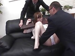 Now here's a concept that works! A horny asian milf secured with a servitude device seems not agree what's going to happen with her large booty. But after the man cuts her panties with scissors and inserts his finger in her tight shaved asshole she suddenly starts moaning and enjoys the treatment.