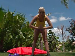 Watch this blonde playgirl as she works out her hot body. After a scarcely any exercises she takes off her clothes and discloses that hot body, this playgirl has lengthy hot legs, a cute ass, small hot boobs and lengthy gorgeous legs. This babe is showing us what she has and makes our cocks hard.