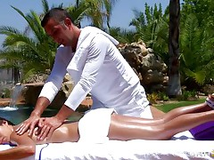 This beautiful brunette is getting a massage near a waterfall. Look how much that babe enjoys getting her booty touched and her body oiled. Are her sexy milk cans and her taut twat intend to receive her some hard knob or will receive some knob juice on those wet lips?