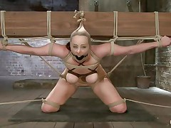This babe really under the pressure! Bella is tied on that large wooden beam, ball gagged and with her scoops squeezed. Her mistress plays with those scoops and then goes behind her to play with her ass too. That booty is round and hot and a large sex-toy inside it makes it look even better. How lengthy will it be until she squirts?