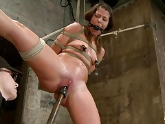 With weights added to her large nipples, sexually sexually excited milf Mia Gold is tied up and has one leg in the air for a better cookie domination. Having her face hole gagged, this babe can solely moan. Her mistress sticks a large marital-device in that wet cookie of hers and a vibrator on her clit to drive her crazy. Will this babe cum soon?