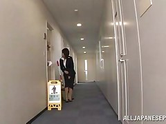 Japanese cunt wants to piss, but doesn`t know where. That babe asks a worker, but he doesn`t aid her and she pisses outside the building. This chab follows her and watches her. Then, he becomes so lustful and starts to play with her moist pussy, recording it at the same time. They go to hide from others when she sucks his cock.