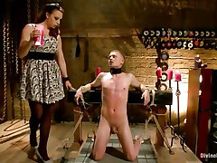 Micah Andrews is fastened up so that guy can't move during the time that domina Chanel Preston trickle hot candle wax all over his body. This babe trickle the wax on his chest, tongue, and dong and balls. After choking him until that guy gasps for air, that babe whips his petite dong red.