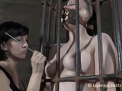 Yeah bitch, u deserve this punishment. U thought that everything needs to be your way and always had lack of respect. Let's see u in that cage how punk u are now. It's a bit humiliating for such a bad ass cutie like u to be caged, bound and pussy rubbed isn't it? Stay there and shut the fuck up.