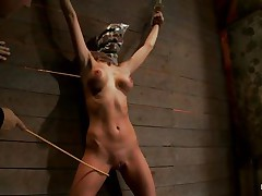Watch this bitch as that babe is tied on the wall and has a bag on her head. That babe is suffocating slowly and to increase the pleasure of being dominated they punish her sexy body by spanking her on the thighs and belly with a stick. After spanking that babe acquires a fake penis on her cunt and moans with pleasure and pain. She's so sexy with those clamps on her hard nipples and, will they add greater amount weights?