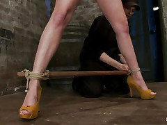 Golden-haired wench with big breasts, high heels and lengthy sexy legs and a sexy camel toe is getting bound up and whipped. That babe has duct tape on her mouth that babe that babe will shut up as that babe gets her harsh treatment. A women puts clamps on her hard nipps and whips the bitch hard on her concupiscent face and squeezed tits but especially on these clamps. I think this wench enjoys the pain and maybe that babe will get a lot more of it.