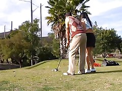 Why teach her how to play golf when this babe can play with something that she's already used with. The hawt brunette milf leaves the golf cross and takes this guy's hard pecker instead. This babe gives him a not many sucks and then goes on top to ride the dude like a fucking whore! Watch how unfathomable this babe takes it while rubbing her clitoris?