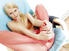 Naughty Czech chick Kasia takes off her red hose after taunting us with her lengthy hot legs and inserts 'em in her shaved tight pussy. She can't live without the feeling of having nylon in her cunt and puts her pants on whilst those hose are still in her vagina. This blonde chick is going to take a walk with nylon in her vagina?