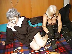 An old nun is about to experience something that she never though it's possible. This blond unties her hands and gives the old bitch some whipping. She then rolls her over whips her some greater amount and starts to undress. This is a classic and things are just about to acquire a lot greater amount interesting, stay with us and watch
