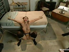 Rilyn Rae is a hot brown haired milf with worthwhile scoops and constricted pussy. The milf is tied on a ottoman and has a gag in her mouth. She groans with pleasure While Danny strikes her large scoops with his leather whip. This fellow acquires on top of her, removing her gag, and copulates her face roughly making sure this babe acquires all the ramrod this babe needs.