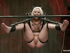 Secured in a bondage device the breasty blonde whore is about to acquire her well deserved punishment. Some ass kicking and she's ready to be punished! At first they use a dildo to warm her pussy and then fingers it deeply. Maybe this babe loves it a lot, in the end she's just a dirty slut, isn't she?