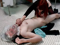 This guy receives attention from his devilish redhead and can't live out of it. the divine wench used a plastic bag to suffocate her large boy and even grabbed him by the neck while engulfing his cock. Now he's allowed to finger her fur pie for a short period of time in advance of getting ass slapped with a paddle. What else the mistress prepared?