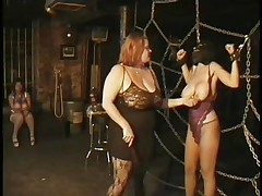 Here's a oldie but goldie bdsm. Headmistress Bianca taunts her female sex thrall not only with her large delicious love muffins but with her skills too. That babe ties Carla's large breasts with rope and squeezed them hard after she played with them. Carla will have to obey the will of her mistress because she's fastened hard