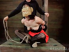 Blindfolded with duct tape and tied up, this brunette milf Elise is receives a rough mouth fuck from her executor. The guy is not joking around and he inserts his penis deep in her throat, showing this wench what her sensual pink lips are good for. Perhaps some warm jizz on her face will elementary her punishment