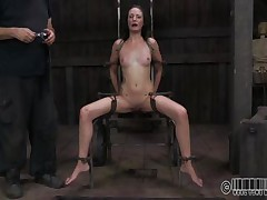 She wanted to to be humiliated and punished just like a wench that this babe is. Well Hailey got what this babe wanted and now she's tied up on that chair and disgraced. The executor wrote wench on her forehead and opened her mouth with a device. Wonder why? Then stick around and find out!