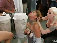 Watch this cute milf getting punished for all her sins. This Latin babe babe with big tits and a shaved soaked crack has the time of her life. Mr. Pete's friends are there to watch her moaning with pleasure and ache as this chab fucks her soaked vagina hard. She enjoys both males and sweethearts taking advantage of her.