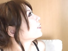 Oriental slut eating cum and gets fucked hard with large marital-device