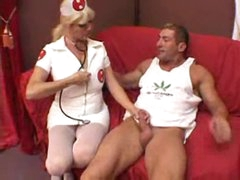 Nurse helps the brawny man acquire laid