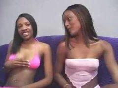 Youthful black girl sits and sucks his weenie