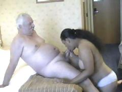 Bulky playgirl from India grinding on white old man's meaty cock