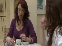 Two horny brunette MILF's have tea party and take up with the tongue each others pussy