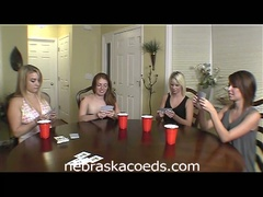 Hot college babes play strip poker
