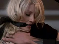 Charming blond fastened in his closet and fucked