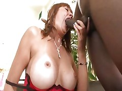 Busty mom Desi Foxx acquires it from a big black wang
