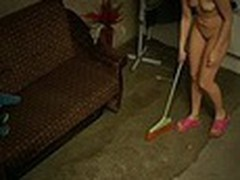 The owner of this terrible apartment was glad when he saw how neat this new gal was but we are pretty sure that he enjoyed her juvenile naked body shamelessly filmed by spy camera even more!
