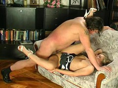 Lusty girlie putting aside her book seducing older male into mighty dicking