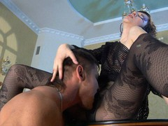 Funky chick gets her legs in fashion tights worshipped for a pantyhosejob