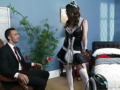 This cute brunette is employed as cleaning woman. Her boss is watching her how this playgirl is working and this guy is very lascivious and crave to fuck her. The boss put her on the bed and begin to take up with the tongue her snatch and ass. Then this guy introduce his large cock in her soaked snatch and begin to fuck her very unfathomable and hard.