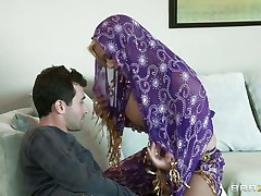 James Deen is cheerful by the big milk sacks of shyla stylez wearing belly dancer wardrobe. This babe is looking breathtaking in purple. Her milk sacks are groped hard by deen and licking it with passion. This babe really wants her pussy being rubbed too.